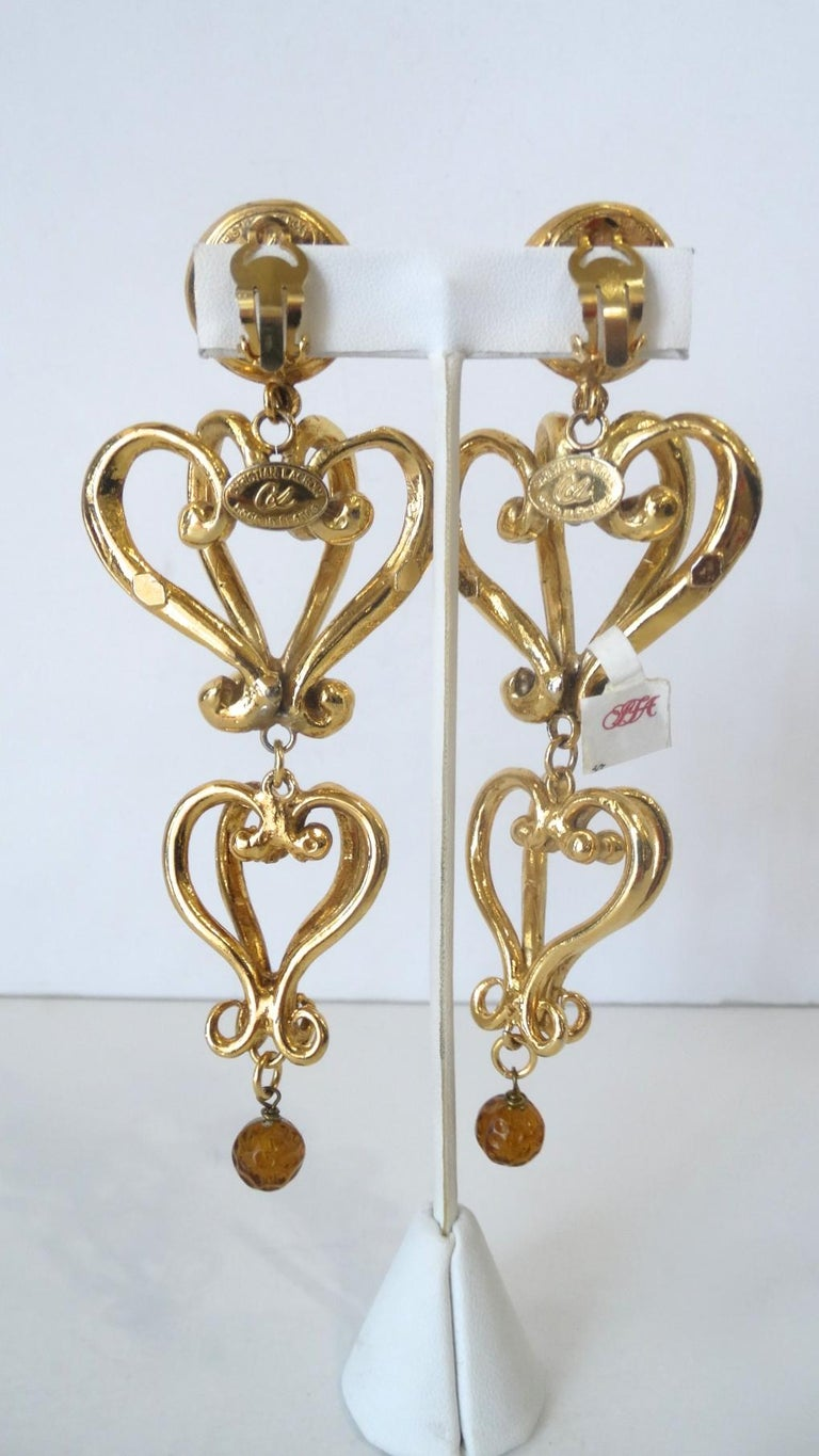1980s Christian Lacroix Runway Gold Baroque Heart Earrings  For Sale 1