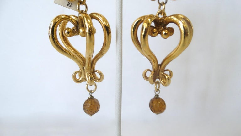 1980s Christian Lacroix Runway Gold Baroque Heart Earrings  For Sale 2