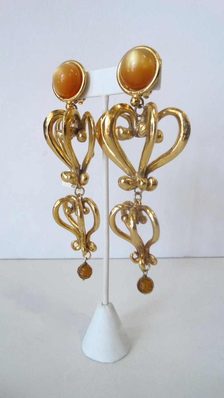 1980s Christian Lacroix Runway Gold Baroque Heart Earrings  For Sale 3