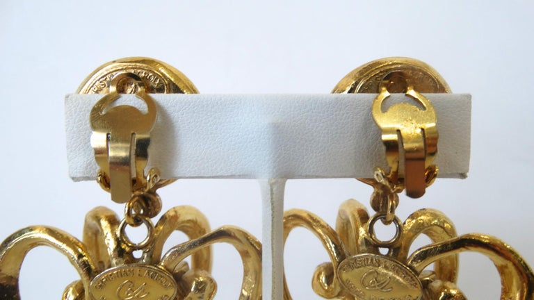 1980s Christian Lacroix Runway Gold Baroque Heart Earrings  For Sale 4