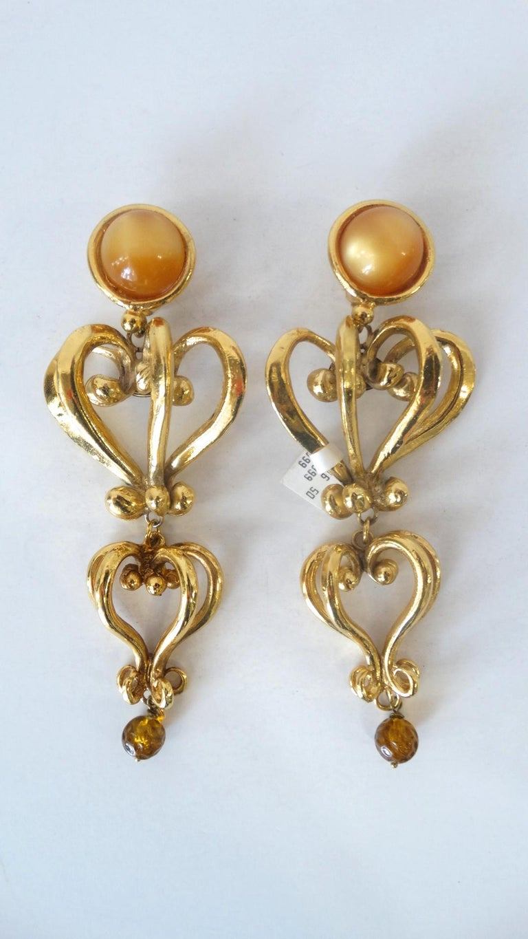 1980s Christian Lacroix Runway Gold Baroque Heart Earrings  For Sale 5