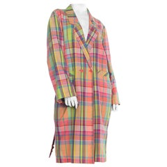 1980S Christian Sijnen Polyester  Plaid Coat