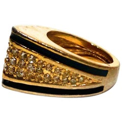1980s Christian Dior Enamel And Crystal Cusp Ring