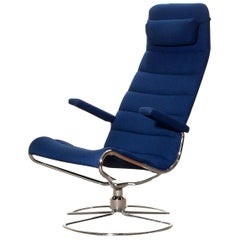 1980s, Chrome with Royal Blue Fabric 'Minister' Swivel Chair by Bruno Mathsson
