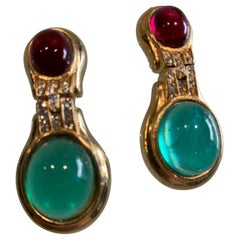 1980s Ciner Art Deco Inspired Jade Green & Ruby Glass Cabochon Clip On Earrings