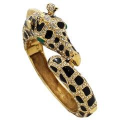 1980's Ciner Enamel and Swarovski Crystals Giraffe Bangle Bracelet in Gold Tone