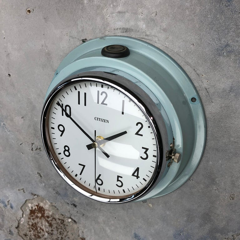 1980s Citizen Japanese Blue Steel Retro Vintage Industrial Antique Quartz Clock For Sale 5