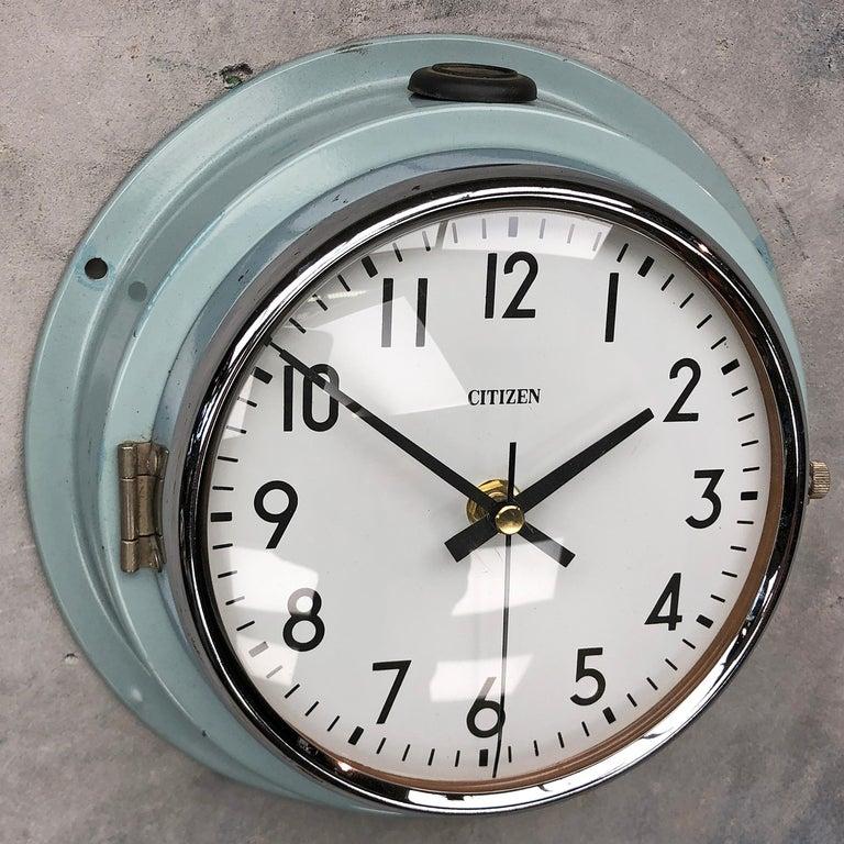 1980s Citizen Japanese Blue Steel Retro Vintage Industrial Antique Quartz Clock For Sale 6