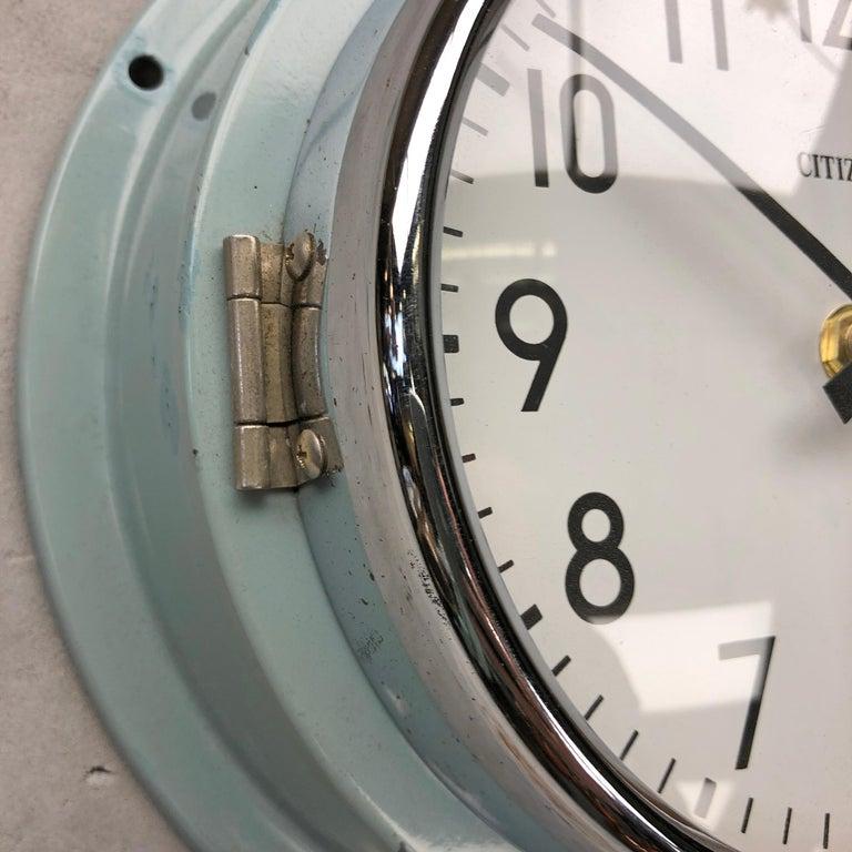 1980s Citizen Japanese Blue Steel Retro Vintage Industrial Antique Quartz Clock For Sale 7