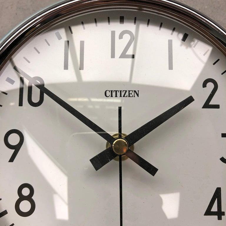 1980s Citizen Japanese Blue Steel Retro Vintage Industrial Antique Quartz Clock For Sale 8