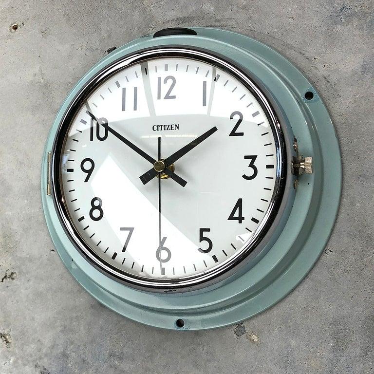 1980s Citizen Japanese Blue Steel Retro Vintage Industrial Antique Quartz Clock For Sale 10