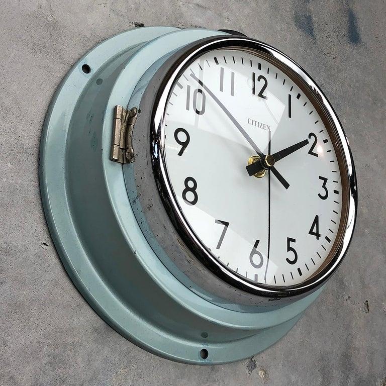 1980s Citizen Japanese Blue Steel Retro Vintage Industrial Antique Quartz Clock For Sale 11