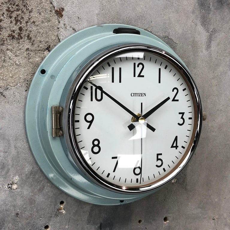 Citizen super tanker slave clock original blue finish.  A reclaimed and restored maritime slave clock also called secondary clock of superior build quality.  These clocks were used in great numbers on super tankers, cargo ships and military