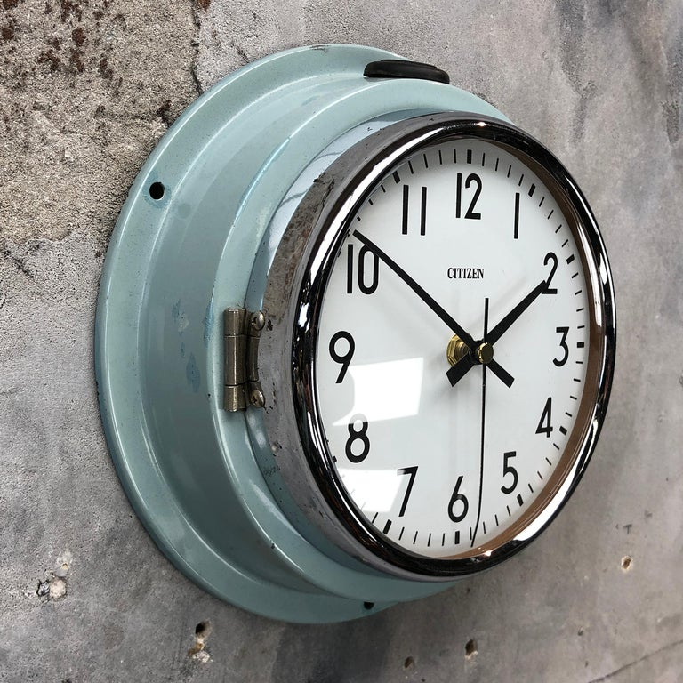 Cast 1980s Citizen Japanese Blue Steel Retro Vintage Industrial Antique Quartz Clock For Sale