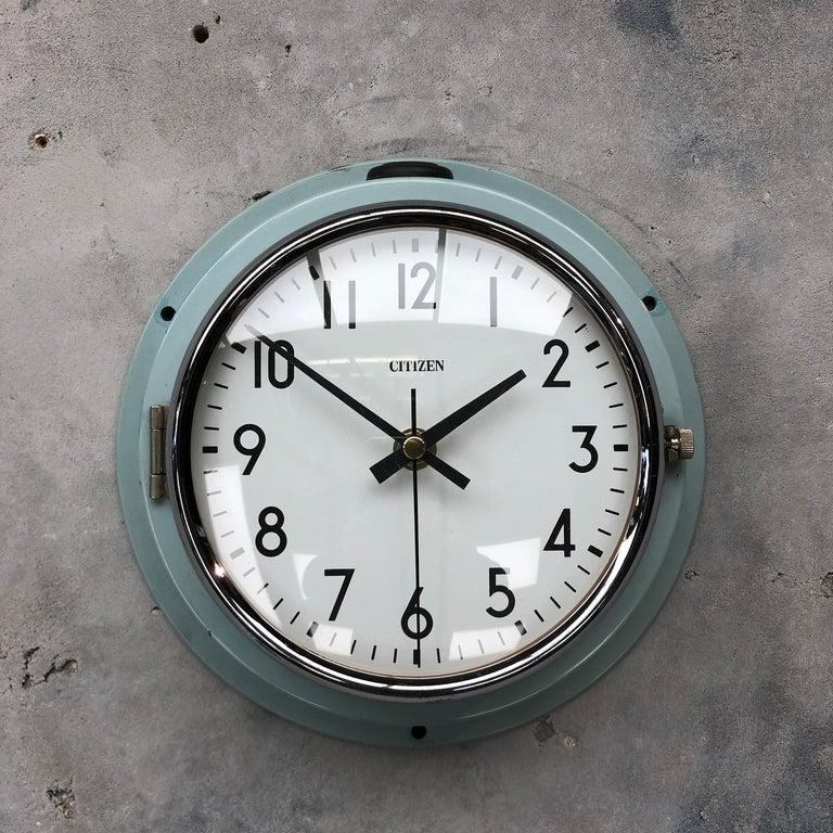Late 20th Century 1980s Citizen Japanese Blue Steel Retro Vintage Industrial Antique Quartz Clock For Sale