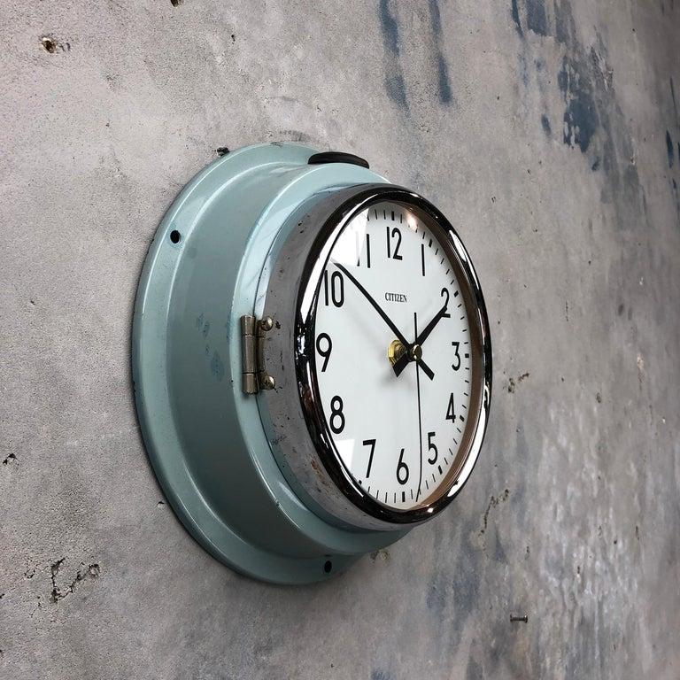 1980s Citizen Japanese Blue Steel Retro Vintage Industrial Antique Quartz Clock For Sale 1
