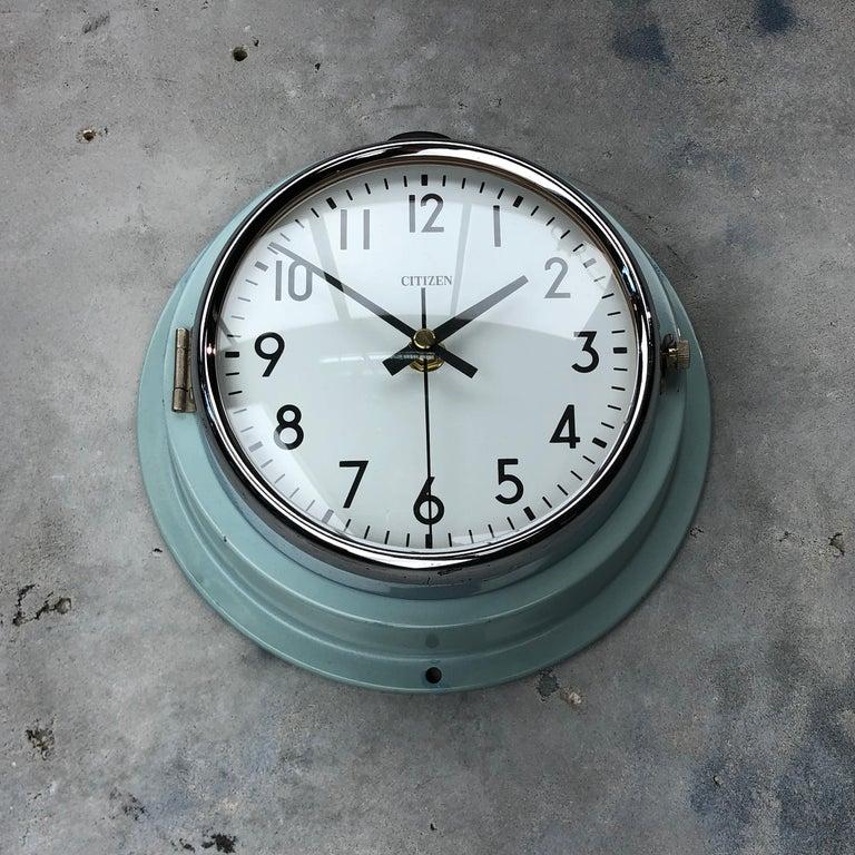 1980s Citizen Japanese Blue Steel Retro Vintage Industrial Antique Quartz Clock For Sale 2