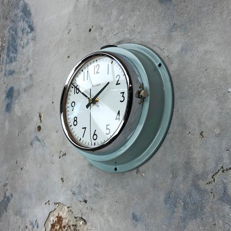 1980s Citizen Japanese Blue Steel Retro Vintage Industrial Antique Quartz Clock For Sale 3