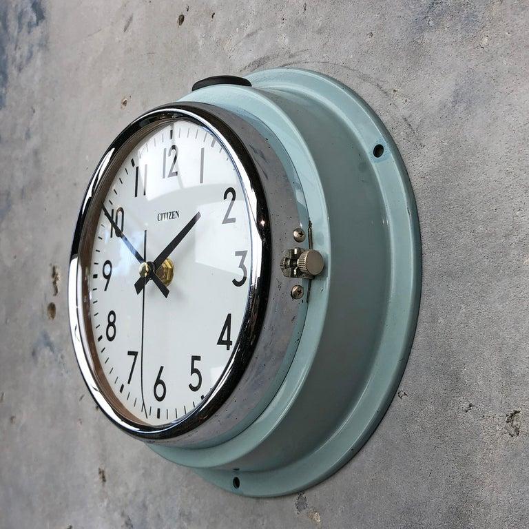 1980s Citizen Japanese Blue Steel Retro Vintage Industrial Antique Quartz Clock For Sale 4