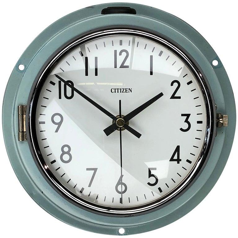 1980s Citizen Japanese Blue Steel Retro Vintage Industrial Antique Quartz Clock For Sale