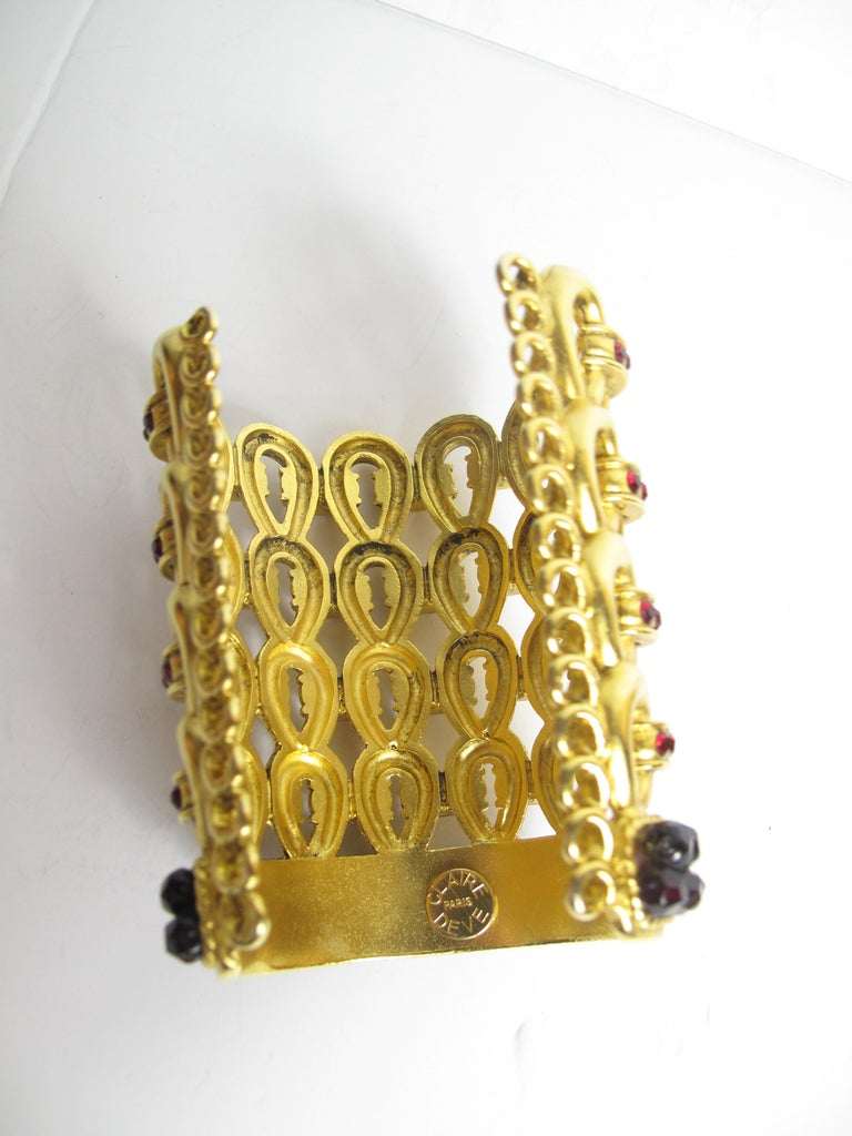 1980s Claire Deve Gold Plated Crystal Bracelet In Good Condition For Sale In Austin, TX
