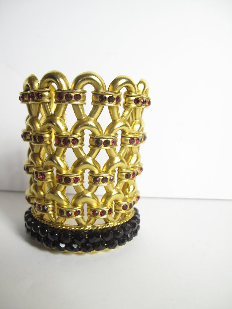 Women's or Men's 1980s Claire Deve Gold Plated Crystal Bracelet For Sale