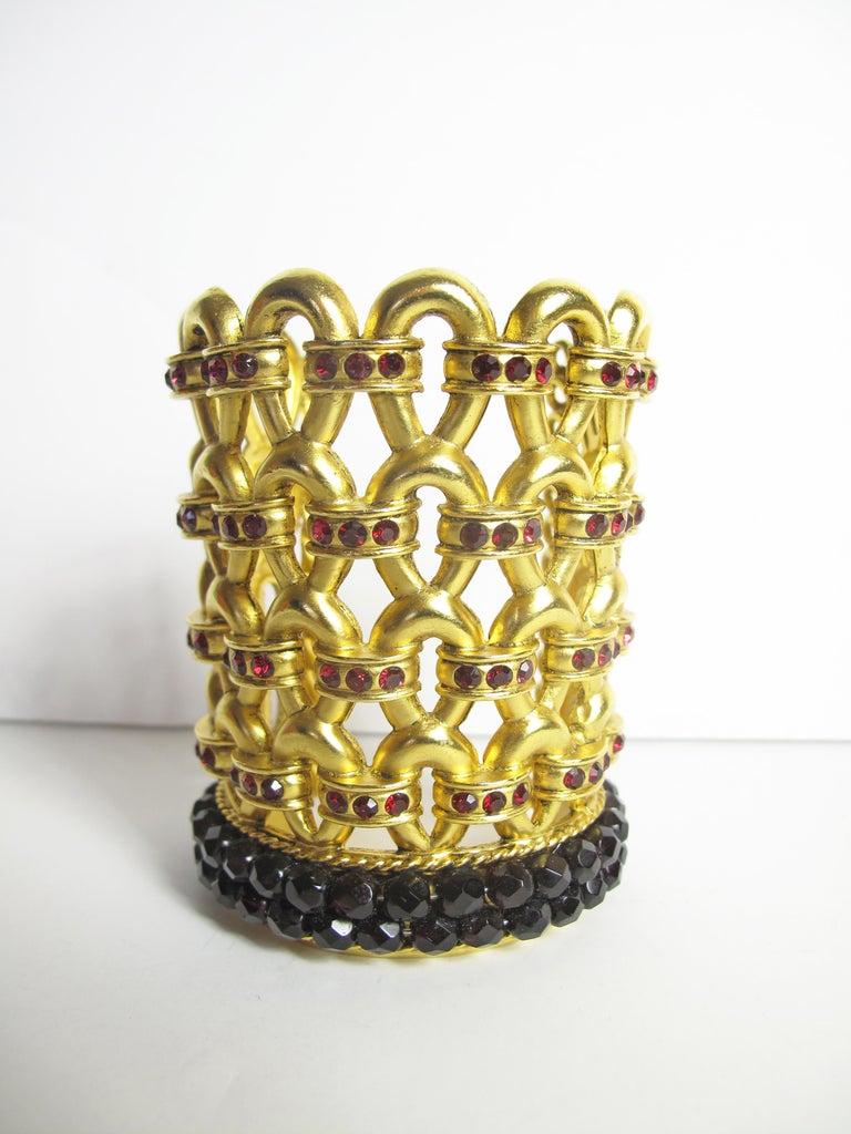 1980s Claire Deve Gold Plated Crystal Bracelet For Sale 1