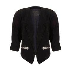 1980s Claude Montana Black Suede Rhinestone Jacket