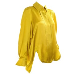 1980s Claude Montana Chartreuse Green Vintage Silk Blouse