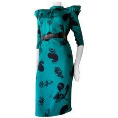 1980s Claude Montana Teal & Black Floral Silk Charmeuse Dress W/ Pouf Shoulders