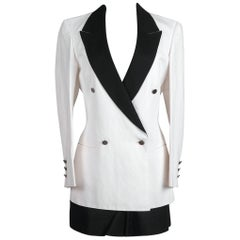 Early 1990s CLAUDE MONTANA White & Black Piping Detail Jacket & Shorts Suit
