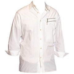 1980S CLAUDE MONTANA White Cotton Mens Shirt With Zipper Details