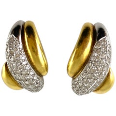 1980s Clip-On Three Rows of Gold with One Row of Diamonds Earrings