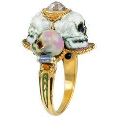 1980er Codognato Diamant, Emaille und Gold Schädel-Ring
