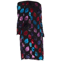 1980S 1980'S Cold Shoulder Lurex Velvet Silk Dress With Internal Corset + Lining