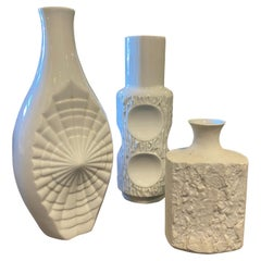 1980s Collection of Three Modernist White Porcelain German Vases