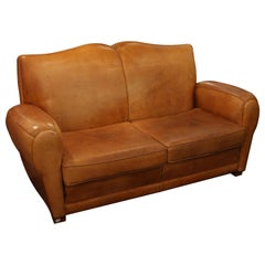 1980s Comfy Mustache Style Tan Leather Club Sofa from France