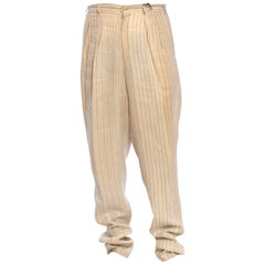 1980S COMME DES GARCONS Creme Striped Linen Mens Pants Which Gather At The Hem
