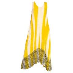 1980S Convertible Multi Wearable Yellow & White  Striped Rayon Leopard Dress