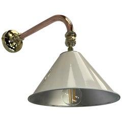 1980's Copper & Brass Cantilever Lamp Cream British Army Lamp Shade
