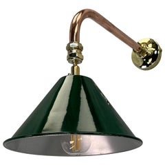 1980's Copper & Brass Cantilever Lamp Green British Army Lamp Shade