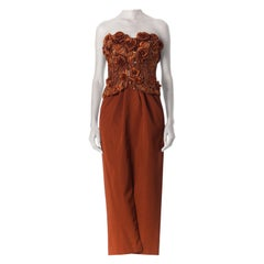 1980S Copper Silk Ottoman Strapless Couture Gown With 3D Embroidered Raffia & P