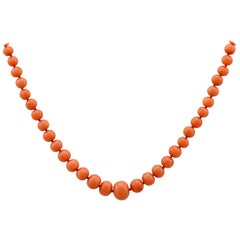 1980s Coral and Silver Gilt Necklace