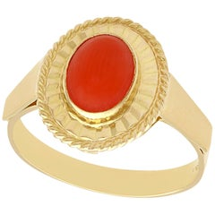1980s Coral and Yellow Gold Cocktail Ring