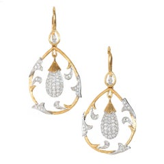 Cordova .75 Carat Diamond Two-Tone Gold Dangle Chandelier Earrings