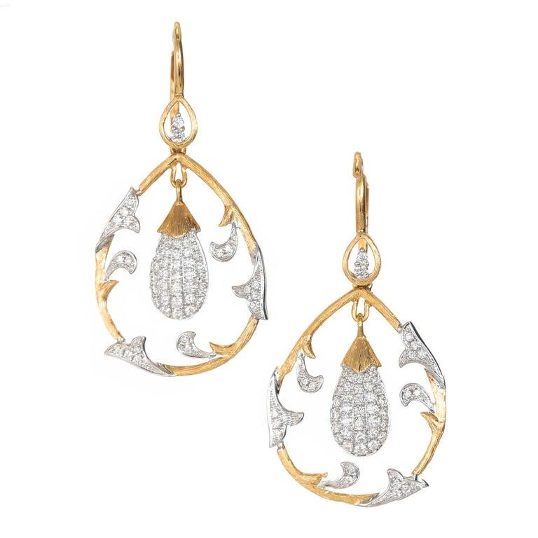 Cordova .75 Carat Diamond Two-Tone Gold Dangle Chandelier Earrings