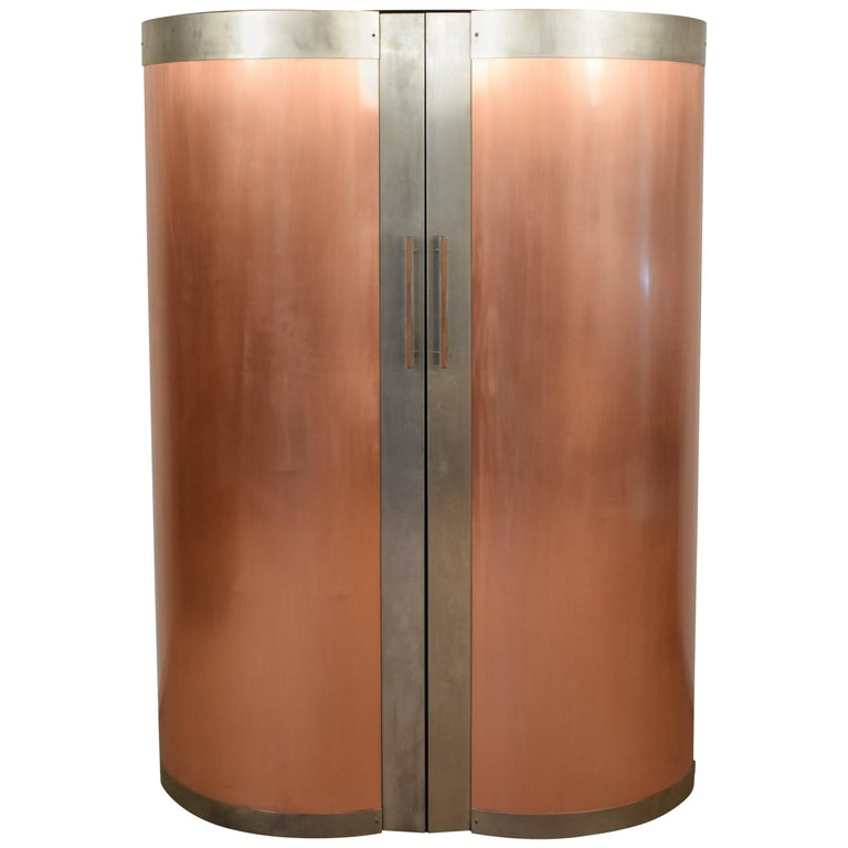 1980s Corner Cabinet / Cabinet with Copper Doors For Sale at 1stdibs