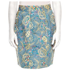 1980S Cotton Floral Embroidered Denim Pencil Skirt