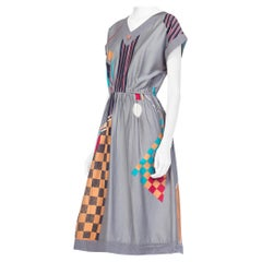 1980S Cotton Sateen Bauhaus Geometric Print Dress From Japan, Deadstock
