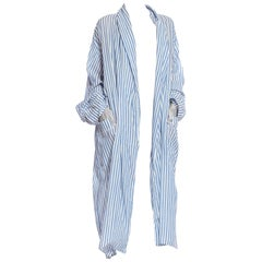 1980'S Blue & White Striped Cotton Blend Oversized Duster With Pockets